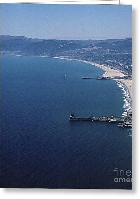 My Ocean Greeting Cards - Santa Monica Bay 1960 from the air Greeting Card by Robert Birkenes