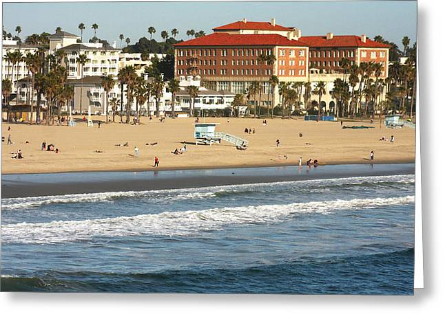 California Beach Art Greeting Cards - Santa Monica Beach Day Greeting Card by Art Block Collections