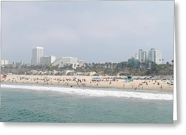 California Beach Image Greeting Cards - Santa Monica Beach, Santa Monica, Los Greeting Card by Panoramic Images
