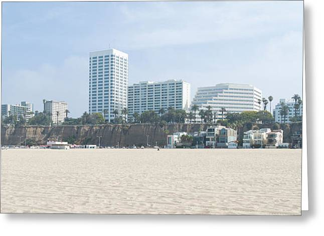 California Beach Greeting Cards - Santa Monica Beach With Buildings Greeting Card by Panoramic Images
