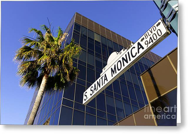 Santa Monica Blvd Sign in Beverly Hills California Greeting Card by Paul Velgos