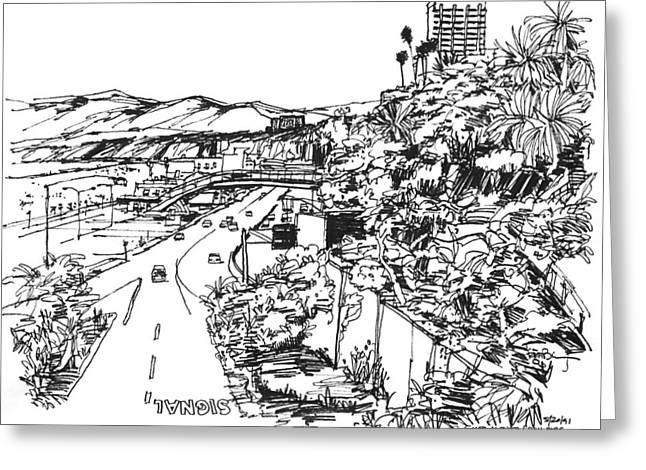 Highway Drawings Greeting Cards - Santa Monica CA - Pacific Coast Highway starts here Greeting Card by Robert Birkenes