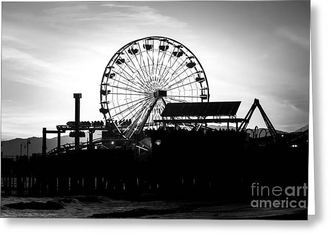 Black And White Photos Greeting Cards - Santa Monica Ferris Wheel Black and White Photo Greeting Card by Paul Velgos