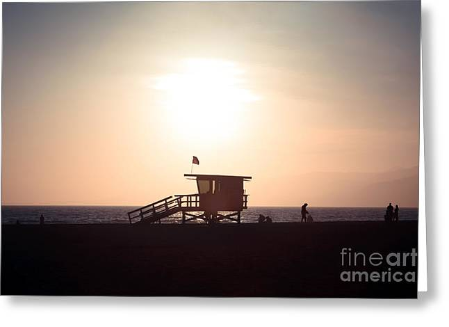 Shack Greeting Cards - Santa Monica Lifeguard Stand Sunset Photo Greeting Card by Paul Velgos