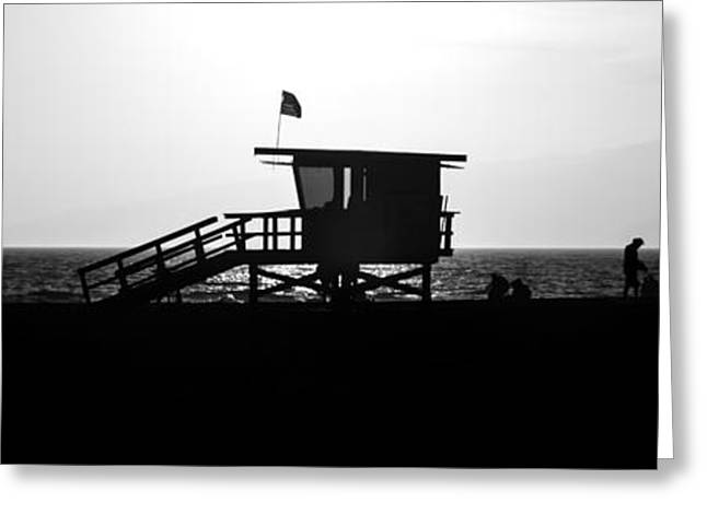 Shack Greeting Cards - Santa Monica Lifeguard Tower Black and White Picture Greeting Card by Paul Velgos
