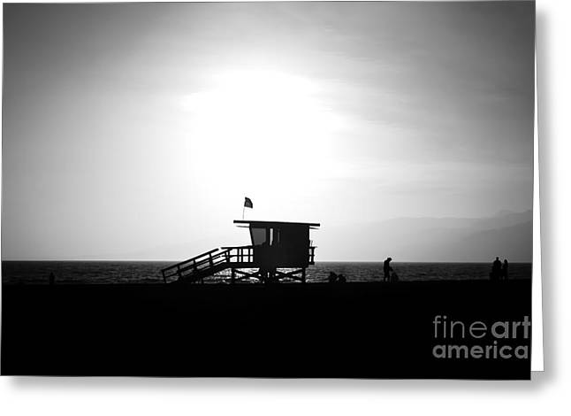 Shack Greeting Cards - Santa Monica Lifeguard Tower in Black and White Greeting Card by Paul Velgos