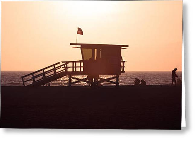 Shack Greeting Cards - Santa Monica Lifeguard Tower Panorama Photo Greeting Card by Paul Velgos