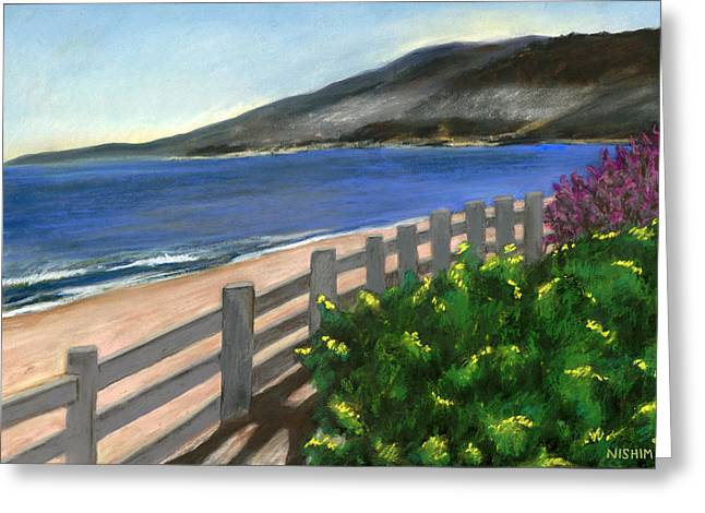 Los Angeles Pastels Greeting Cards - Santa Monica Overlook Greeting Card by Nishima Kaplan