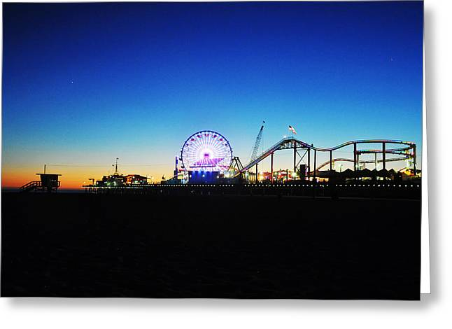 Usa Pyrography Greeting Cards - Santa Monica Pier at blue phase Greeting Card by Steffen Schumann