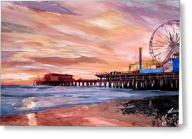 Recently Sold -  - California Beach Art Greeting Cards - Santa Monica Pier at Sunset Greeting Card by M Bleichner