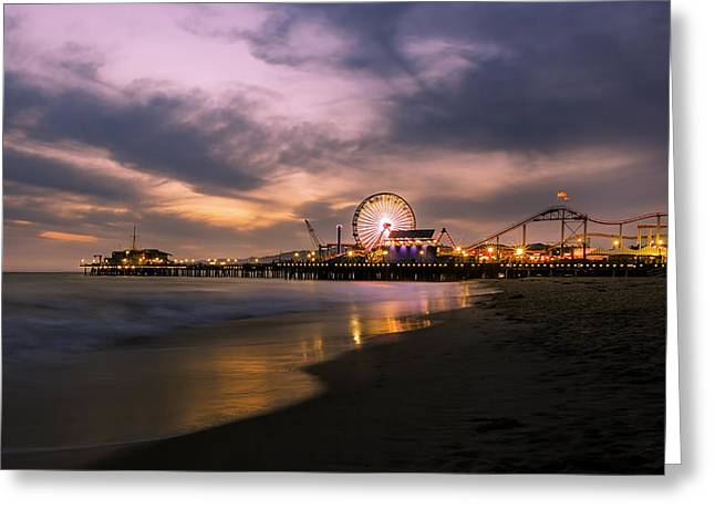 California Tourist Spots Digital Greeting Cards - Santa Monica Pier Blue Hour Greeting Card by Jerome Obille