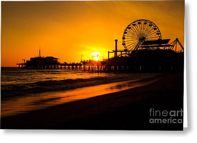 Ride Greeting Cards - Santa Monica Pier California Sunset Photo Greeting Card by Paul Velgos