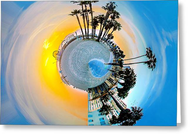 Spheres Greeting Cards - Santa Monica Pier Circagraph Greeting Card by Az Jackson