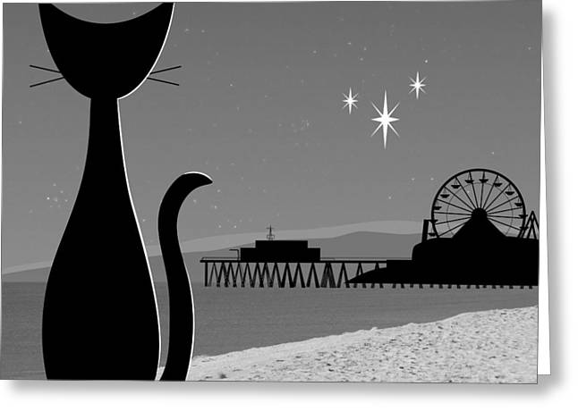 Amusements Greeting Cards - Santa Monica Pier Greeting Card by Donna Mibus