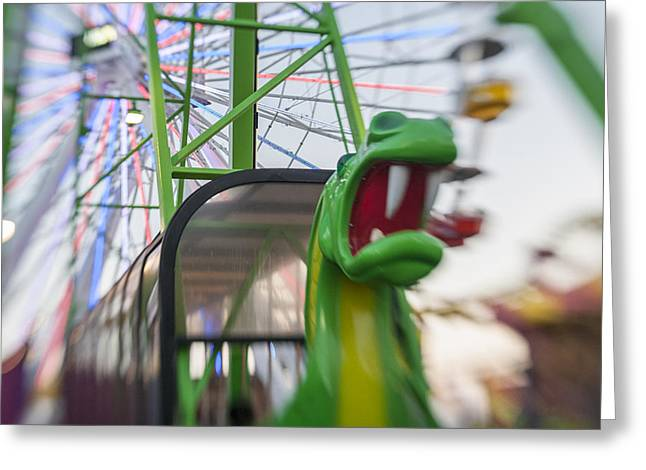 Santa Monica Greeting Cards - Santa Monica Pier Dragon Ride Landscape Greeting Card by Scott Campbell