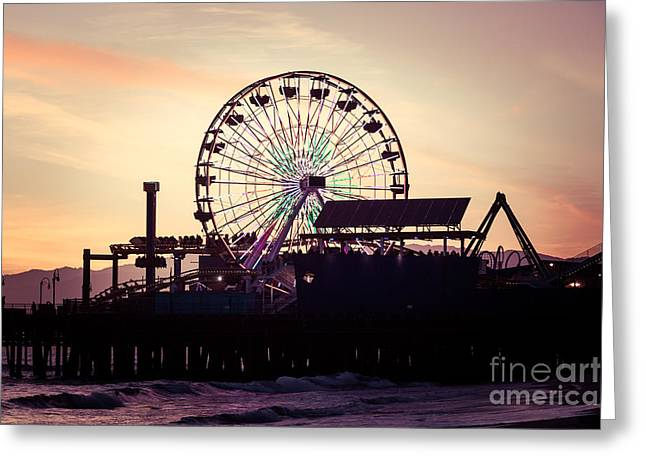 Amusements Greeting Cards - Santa Monica Pier Ferris Wheel Retro Photo Greeting Card by Paul Velgos
