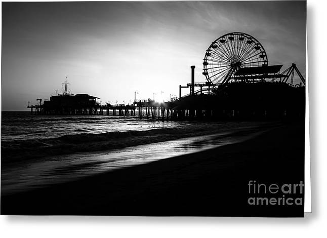 Southern California Sunset Beach Greeting Cards - Santa Monica Pier in Black and White Greeting Card by Paul Velgos