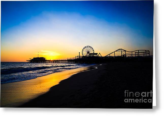 Santa Monica Greeting Cards - Santa Monica Pier Pacific Ocean Sunset Greeting Card by Paul Velgos