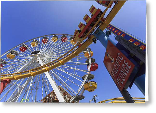 Pattern Greeting Cards - Santa Monica Pier Pacific Plunge Greeting Card by Scott Campbell