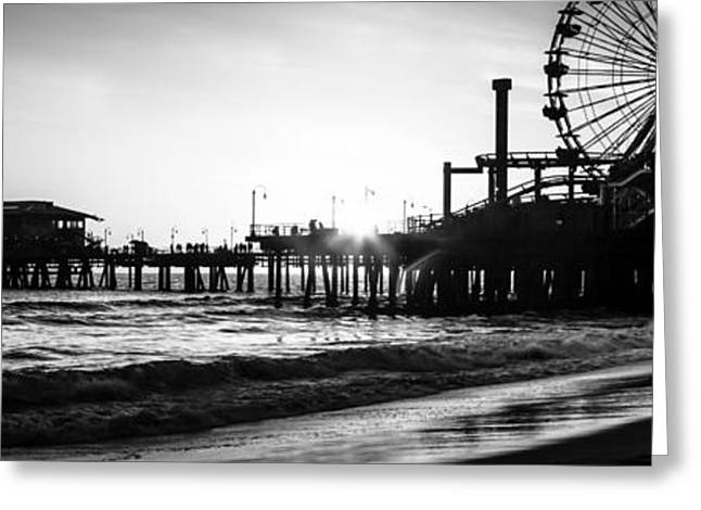 Pacific Ocean Prints Greeting Cards - Santa Monica Pier Panorama Black and White Photo Greeting Card by Paul Velgos