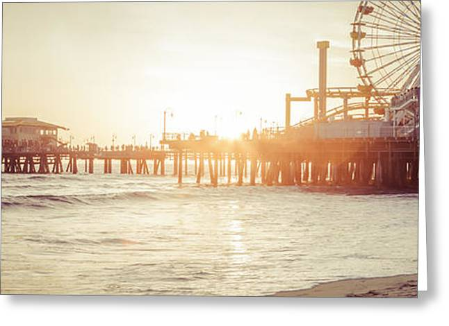 Pacific Ocean Prints Greeting Cards - Santa Monica Pier Retro Sunset Panorama Photo Greeting Card by Paul Velgos
