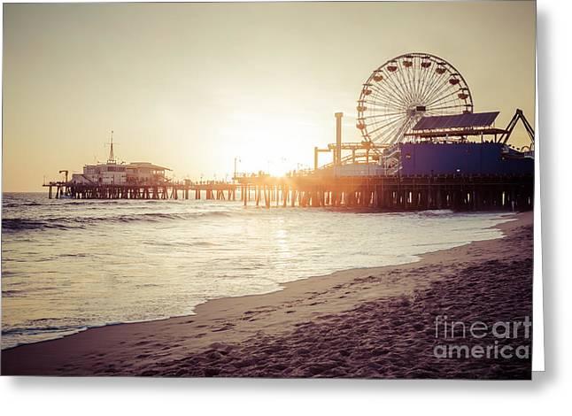 Santa Monica Pier Retro Sunset Picture Greeting Card by Paul Velgos