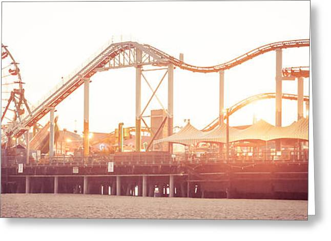 Rustic Photo Greeting Cards - Santa Monica Pier Roller Coaster Panorama Photo Greeting Card by Paul Velgos