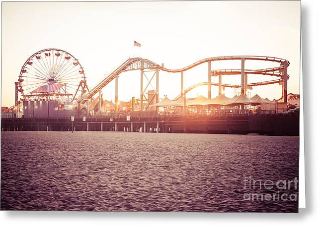 Roller Coaster Photographs Greeting Cards - Santa Monica Pier Roller Coaster Retro Photo Greeting Card by Paul Velgos