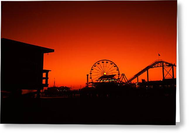 Rollercoaster Photographs Greeting Cards - Santa Monica Pier, Santa Monica Beach Greeting Card by Panoramic Images