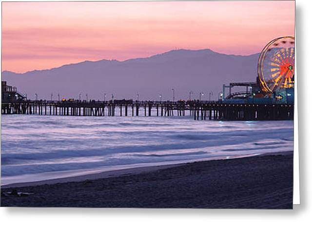 California Ocean Photography Greeting Cards - Santa Monica Pier Santa Monica Ca Greeting Card by Panoramic Images
