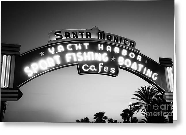 Best Sellers -  - Light And Dark Greeting Cards - Santa Monica Pier Sign in Black and White Greeting Card by Paul Velgos