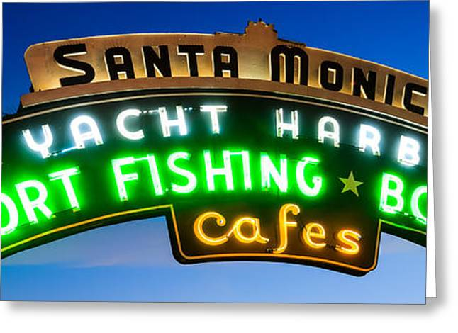 Sunset Prints Greeting Cards - Santa Monica Pier Sign Panorama Picture Greeting Card by Paul Velgos