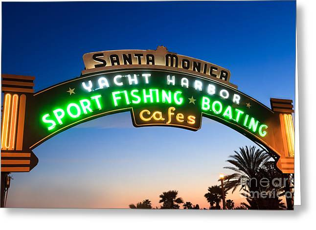 Santa Monica Pier Sign Greeting Card by Paul Velgos