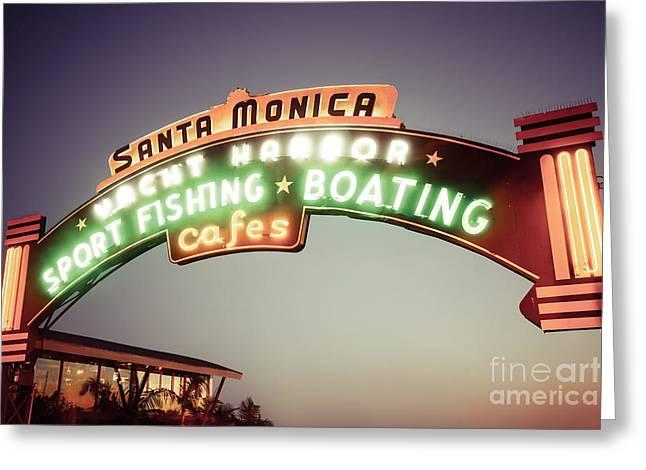 1950s Photographs Greeting Cards - Santa Monica Pier Sign Retro Photo Greeting Card by Paul Velgos