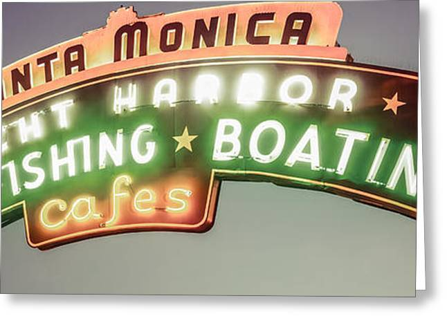 Nostalgic Prints Greeting Cards - Santa Monica Pier Sign Vintage Panoramic Photo Greeting Card by Paul Velgos