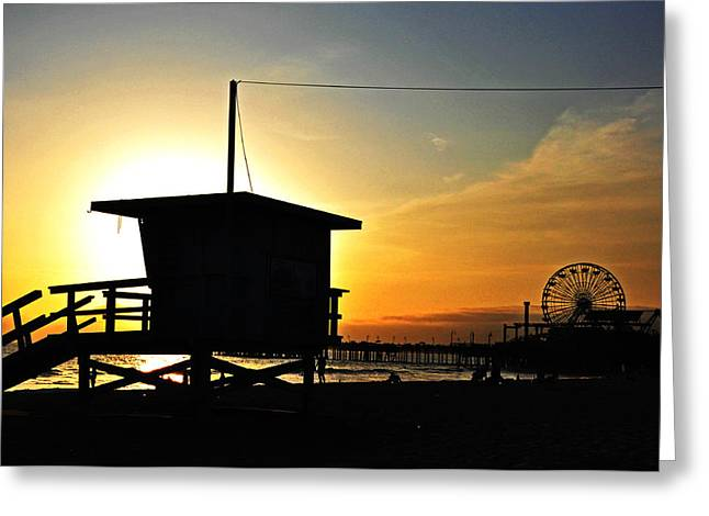 Usa Pyrography Greeting Cards - Santa Monica Pier Greeting Card by Steffen Schumann