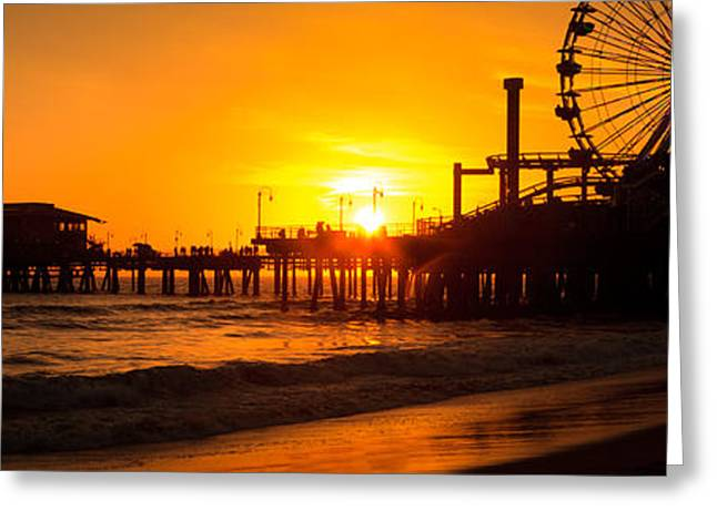 Pacific Ocean Prints Greeting Cards - Santa Monica Pier Sunset Panorama Photo Greeting Card by Paul Velgos