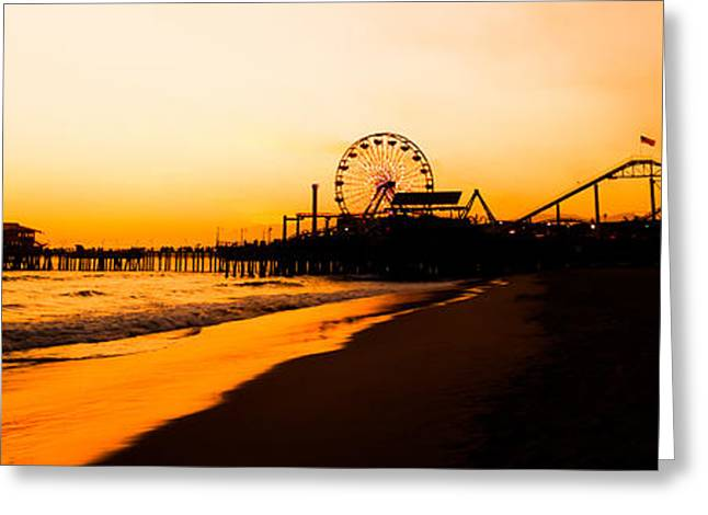 Pacific Ocean Prints Greeting Cards - Santa Monica Pier Sunset Panorama Picture Greeting Card by Paul Velgos