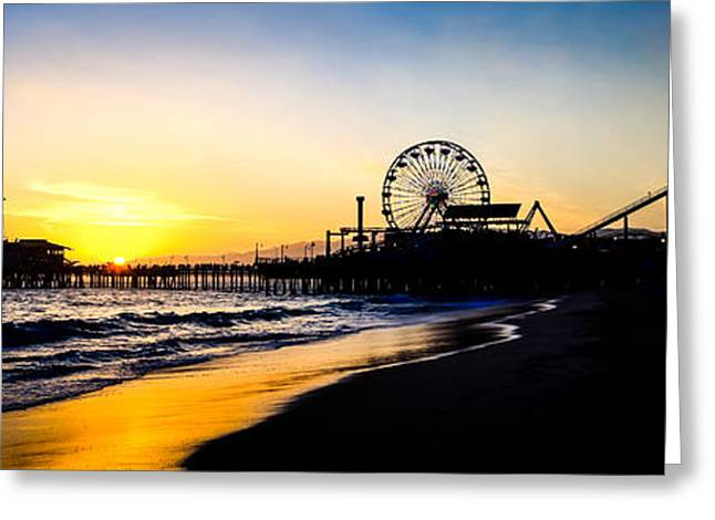 Amusements Greeting Cards - Santa Monica Pier Sunset Panoramic Photo Greeting Card by Paul Velgos
