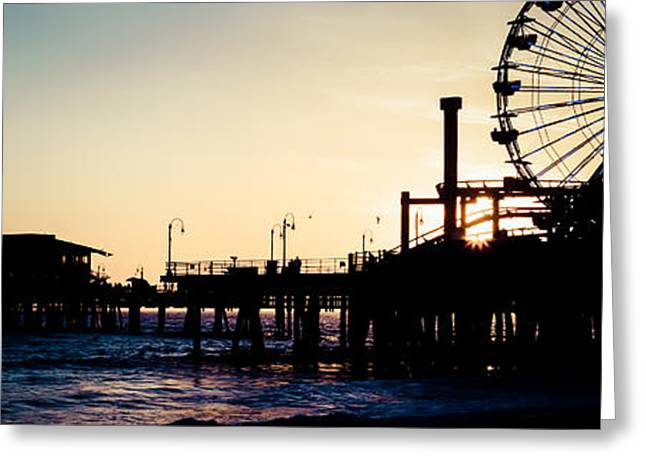 Pacific Ocean Prints Greeting Cards - Santa Monica Pier Sunset Retro Panoramic Photo Greeting Card by Paul Velgos