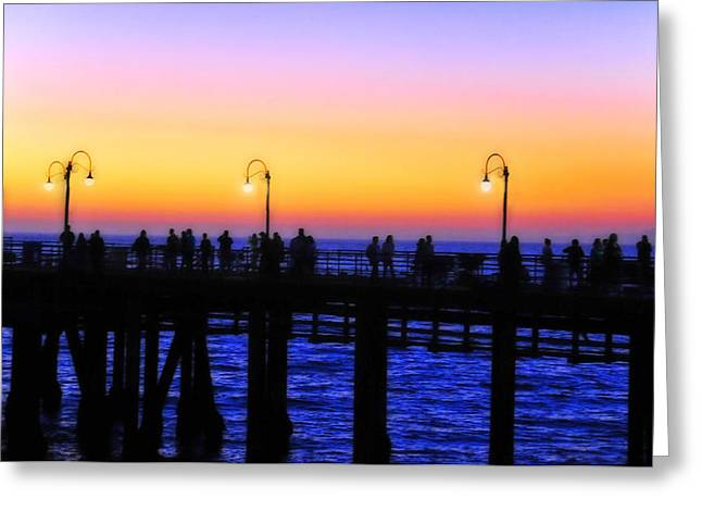 A Summer Evening Greeting Cards - Santa Monica Pier Sunset Silhouettes Greeting Card by Lynn Bauer