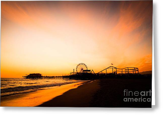 Colorful Photos Greeting Cards - Santa Monica Pier Sunset Southern California Greeting Card by Paul Velgos