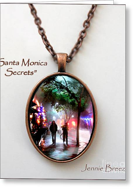 City Lights Jewelry Greeting Cards - Santa Monica Secrets-Custom Pendant Greeting Card by Jennie Breeze