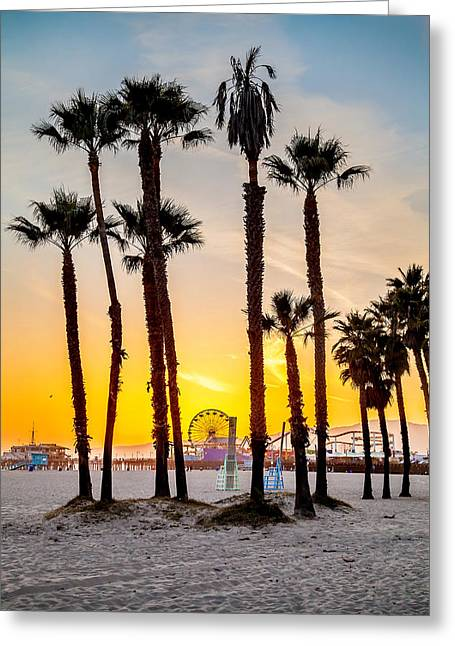 Ferris Wheel Greeting Cards - Santa Monica Sunset 2 Greeting Card by Az Jackson