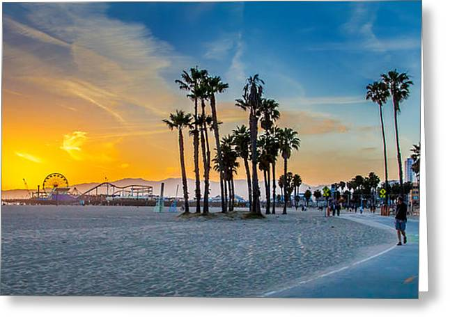 Amusements Greeting Cards - Santa Monica Sunset Greeting Card by Az Jackson