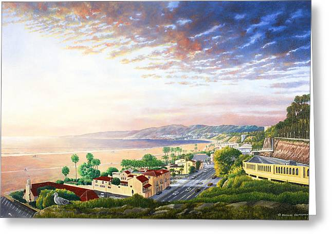 Pch Paintings Greeting Cards - Santa Monica View North Greeting Card by Douglas Castleman