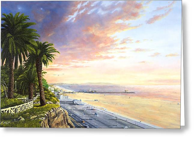 Pch Paintings Greeting Cards - Santa Monica View South Greeting Card by Douglas Castleman