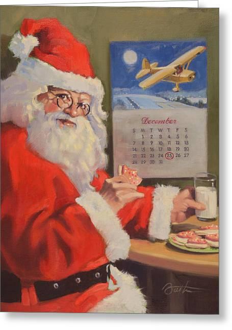 Milk And Cookies Greeting Cards - Santa Nan 2 Greeting Card by Todd Baxter