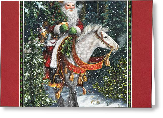 Santa of the Northern Forest Greeting Card by Lynn Bywaters