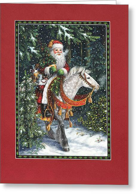 Santa Claus Greeting Cards - Santa of the Northern Forest Greeting Card by Lynn Bywaters